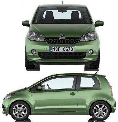 Skoda a droit aussi à sa déclinaison de la VW Up!, avec cette <b>Skoda Citigo</b>. Un design classique, plus low-cost que sa cousine Volkswagen, et moins dynamique que la Seat Mii.<br> Bien entendu, cette Skoda Citigo se différencie de la VW Up! par des détails esthétiques. Motorisations, dimensions extérieures comme intérieures, ... restent strictement identiques..
