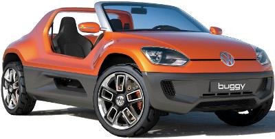 Présentation du concept car Volkswagen Buggy Up!, petit buggy 2 places basé sur la VW Up!, clin d'oeil aux premiers buggies qui étaient construits en Californie à partir de VW Beetle..