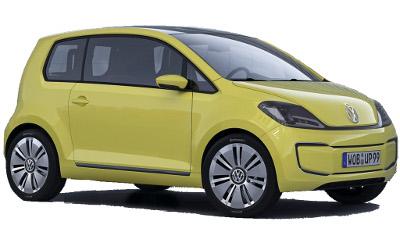 La VW Up! a été dévoilée avant sa commercialisation par divers concept-cars. Ce concept car VW E-Up! Concept de 2009, version 100% électrique, mêle deux objectifs: introduire la VW Up!, et lui donner une connotation écologique, technologique..