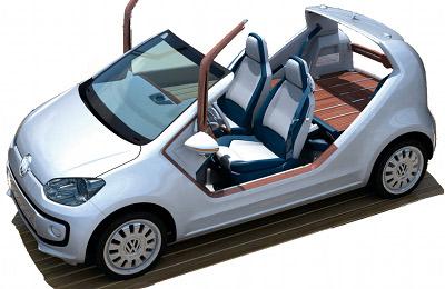 Présentation du concept car Volkswagen Up! Azzura Sailing Team Concept, qui permet de donner à la VW Up! une connotation nautique, donc jeune, valorisante, attirante,...